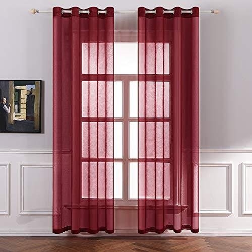 MIULEE 2er Set Sheer Voile Vorhang mit Ösen Transparente Gardine aus Voile Polyester Ösenschal Transparent Wohnzimmer Luftig Dekoschal für Schlafzimmer 140 X 175 cm (B x H), Rod Pocket Rot