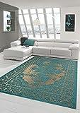 Moderner Teppich Designer Teppich Orientteppich Wohnzimmer Teppich mit Bordüre in Türkis Beige Größe 160x230 cm