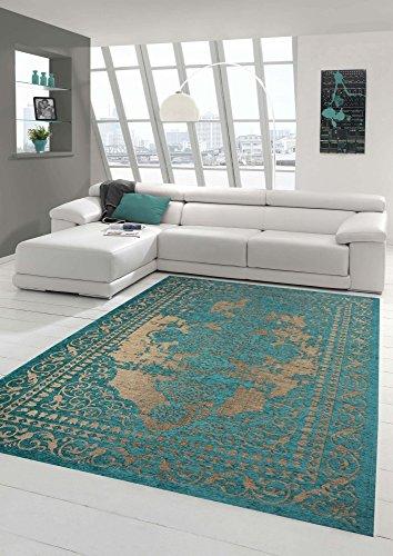 Moderner Teppich Designer Teppich Orientteppich Wohnzimmer Teppich mit Bordüre in Türkis Beige Größe 200 x 290 cm