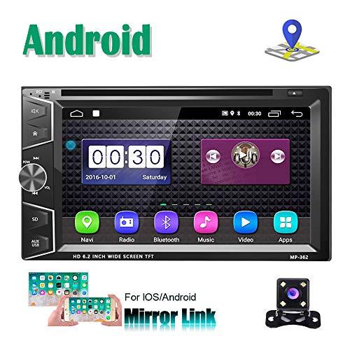 Doppio Din Android Autoradio Lettore CD DVD 2Din GPS Navigazione stereo Camecho da 6,2 pollici Touch Screen Bluetooth FM Ricevitore Telefono Specchio Dual USB Link + Telecamera retromarcia