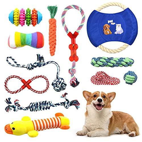 Isyunen Giochi per cani giocattolo per cuccioli-12 Pezzi Giocattolo di Cotone Naturale Corda da Masticare per La Pulizia dei Denti Cuccioli Giochi Lavabili e Resistenti giochi cane da mordere