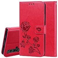 Fulvit for. Huawei Honor 20財布ケース、ローズエンボス加工水平フリップPUレザー保護カバーケースホルダー&カードスロット ケース・カバー (Color : Red)