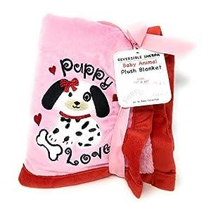 """Reversible Sherpa Baby Animal Plush Blanket """"Dalmatian Pink/red"""""""