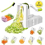 cucumber pasta maker - 7-Blade Spiralizer Vegetable Slicer, Vegetable Spiralizer Chopper Plus Free Brash&Container &Lid with 7/420-grade Blade, Powerful Anti-Slip Sucker Spiral Slicer for Zucchini Noodles&Veggie Pasta Maker