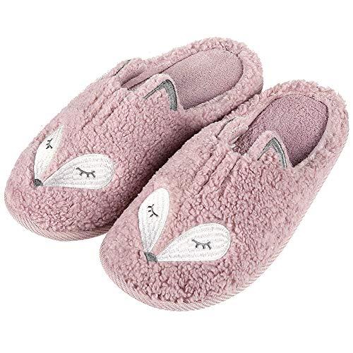 Zapatillas de Mujer Kqpoinw, Zapatillas de Casa de Mujer Zapatillas Peluche Mujer Zapatillas Antideslizantes de Animales Zapatillas de Casa Tamaño 3 4 5 6 7 8 (38/39 EU, Rosa(Zorro))