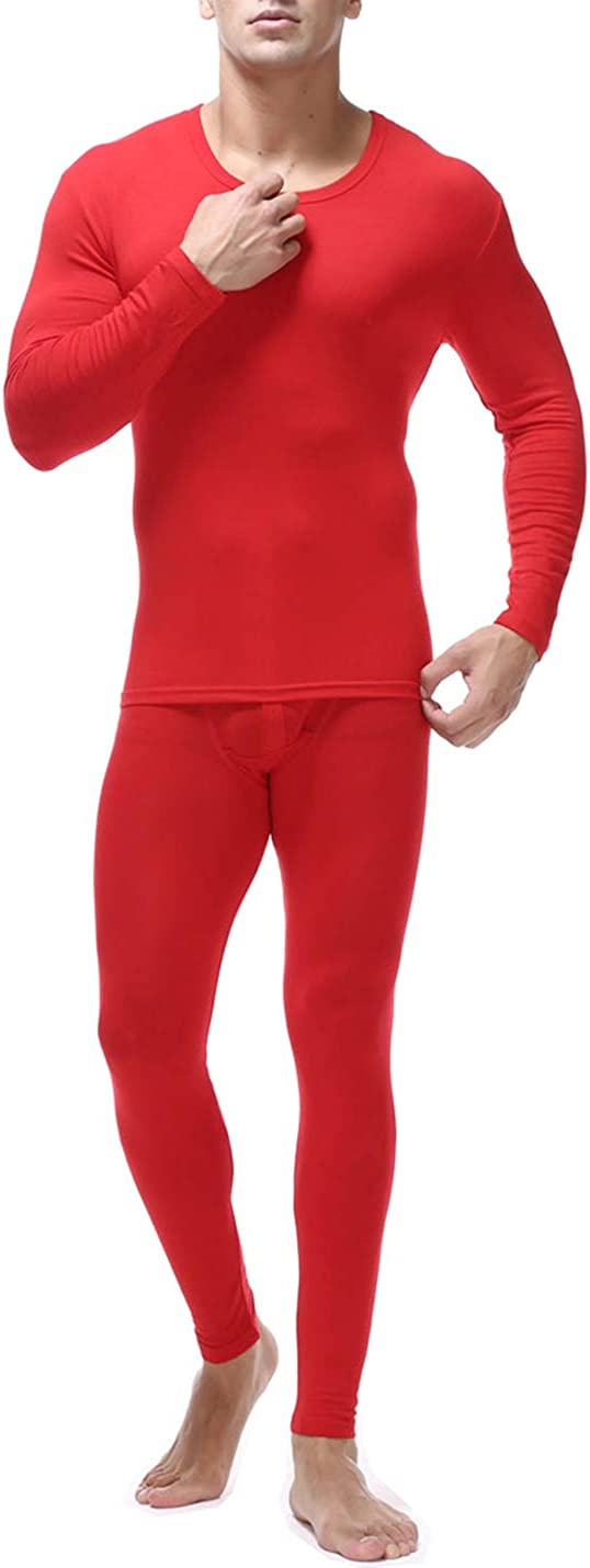 Locachy Men's Ultra Soft Thermal Underwear Set Stretchy Thin Modal Cotton Long Johns Top & Bottom Set