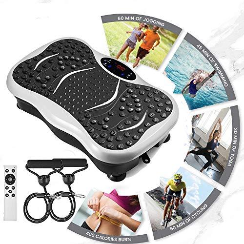 ACEWD Plataformas Vibratorias Oscilantes Oferta, Plataforma Vibratoria De Fitness, Placa De Vibración, Altavoz USB, Masaje Control Remoto,Carga 150Kg,Blanco