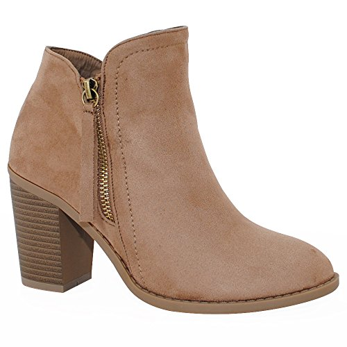 TRENDSUP COLLECTION Women's Fashion Suede Booties (8.5, Taupe)