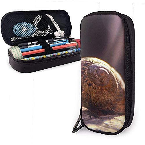 Brown Schneckenhaus Nahaufnahme PU Leder Beutel Aufbewahrungsbeutel Tragbare Student Bleistift Büro Schreibwaren Tasche Reißverschluss Brieftaschen Make-up