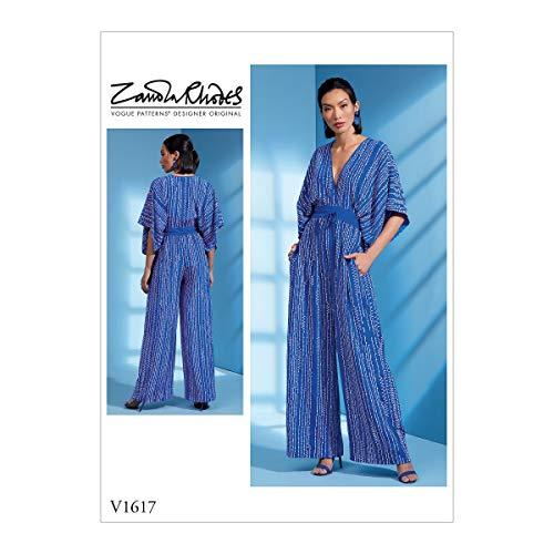 Vogue V1617Y Women's Loose Fitting Jumpsuit Sewing Pattern by Zandra Rhodes, Sizes 4-14 Schnittmuster, Papier, weiß, Verschiedene Größen
