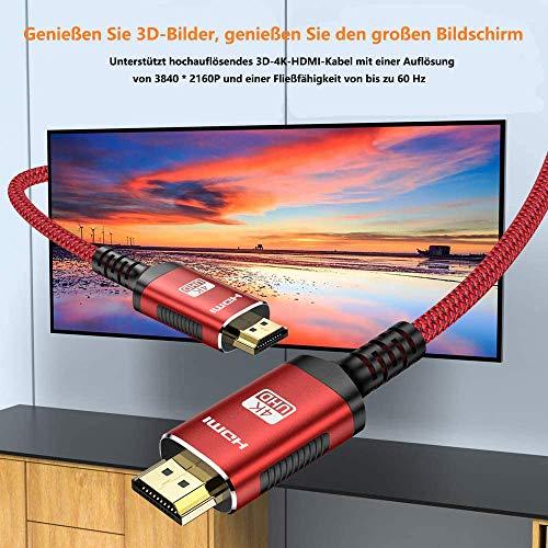 HDMI Kabel 4K 60hz | 2m – Snowkids 4K@60HZ HDMI 2.0 des Rutschfesten Kabel Aktualisierte Version mit 18Gbps HDCP 2.2, 3D UHD Ethernet ARC-kompatiblem HDTV, PS4, Projektor – Rot - 2