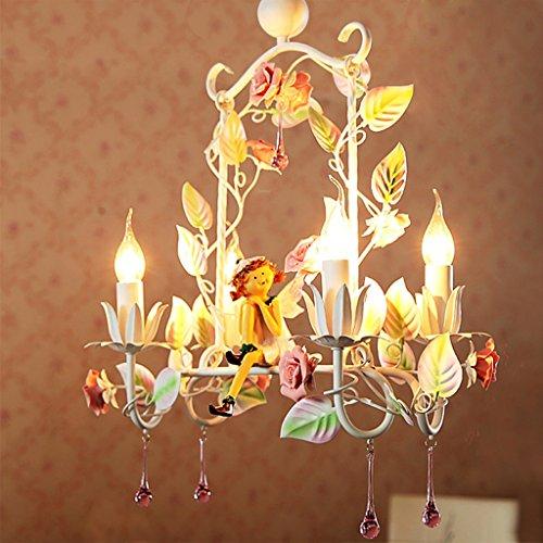 KUN PENG SHOP Kreatives Restaurant Kronleuchter Pastoral Blume Farbe Eisen Prinzessin Blume Engel Kerze Licht A+