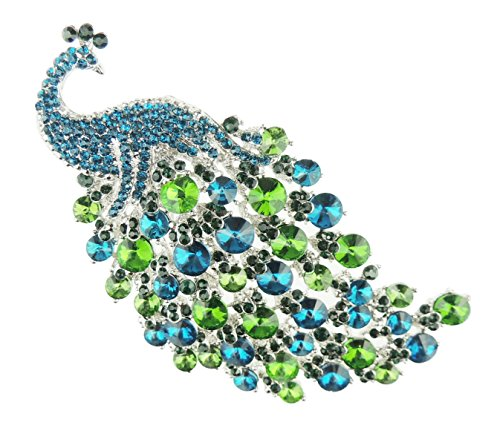 Glamour Girlz Ladies Large 11cm Sparkly Diamante Crystal Feathered Peacock Bridal Brooch Green & Turquoise