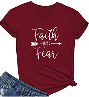 Qrupoad Womens Faith Over Fear V Neck T Shirts Fall Casual Christian Short Sleeve Graphic Tees Tops