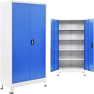 vidaXL Armoire de Bureau Métal 90x40x180 cm Gris et Bleu Meuble Rangement