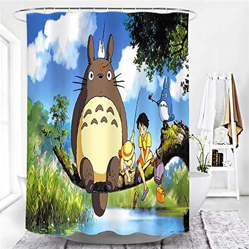 lxianghao Duschvorhang Cartoon Totoro Duschvorhang Baumwolle Mit Haken Für Duschvorhang Polyester Stoff 220 X 180 cm
