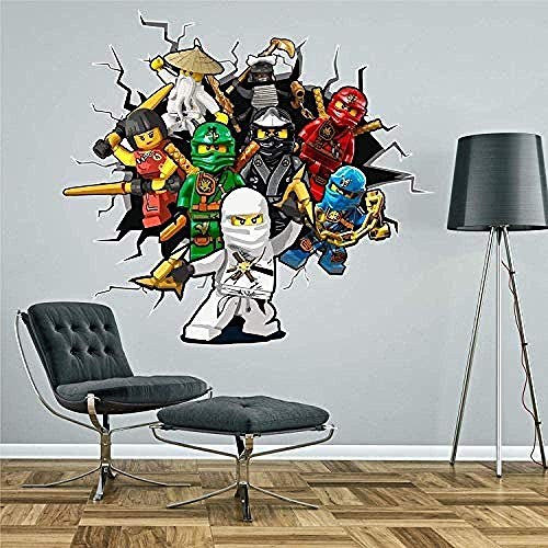 chgznb 3D Look Wandtattoo Aufkleber Muraux Ninja Percer Le Mur Aufkleber Autokollant Art Garçons Chambre Murale
