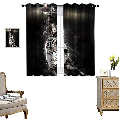 DRAGON VINES Living Room Grommet Insulation Curtain Curtains for Windows Michael Jordan Fondos de Thermal Insulated Drapery Drapes for Living Room Set of 2 Panels W55 x L45