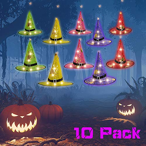 CrazCalf Halloween Decorations Lights Outdoor Decorations 160 LED String Light 10Pcs Witch Hats Decor with 35ft Waterproof Hanging Lights 9 Lighting Color Flash Modes for Outdoor, Garden