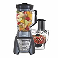Oster Pro 1200 blender with professional Tritan jar and food processor, Metallic Gray