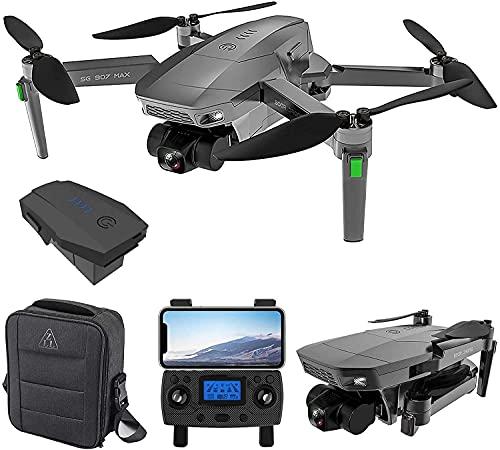 SG907 MAX Gimbal de 3 ejes con cámara 4K, Gimbal plegable anti-vibración WiFi Video en vivo Volteos 3D, Batería de vuelo inteligente, Control de gestos, 5G FPV Drone RC sin escobillas (1 Batería)