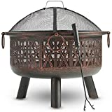 VonHaus Geo Fire Pit Bowl with Spark Guard & Poker