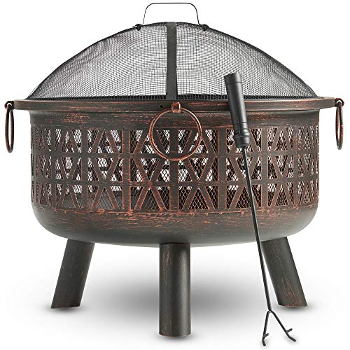 VonHaus Geo Fire Pit Bowl with Spark Guard & Poker – Outdoor Black Steel Garden Patio Heater/Burner for Wood & Charcoal