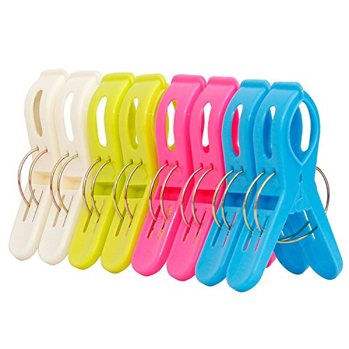 ipow 8 große Wäscheklammern Hochwertige Kunststoff Clips Qulit Clips für tägliche Wäsche, großes Strandtuch, schwere Badetuch, Dicke Teppich etc.
