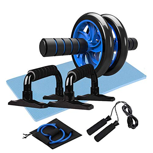 OUTAD Exercise Set 5-in-1 Ab Roller Wheel Set with Knee Pad, Push-Up Bar, Jump Rope, Multifunctional Resistance Band Abdominal Exercise Workout