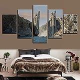 LAKHAFZY Impressions sur Toile 5 Pièces HD Impression Affiche Art Peinture Statues en Seigneur des Anneaux Mur Modulaire pour Le Salon