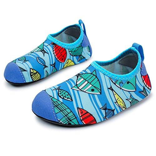 L-RUN Kids Swim Shoes Lightweight Slip-on Shoes Comfortable Blue 8-8.5=EU 24-25