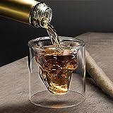 2 bicchieri da 75 ml a doppia parete con cristallo trasparente a forma di teschio, tazza da caffè isolata per espresso, tè, cappuccino, cioccolata calda