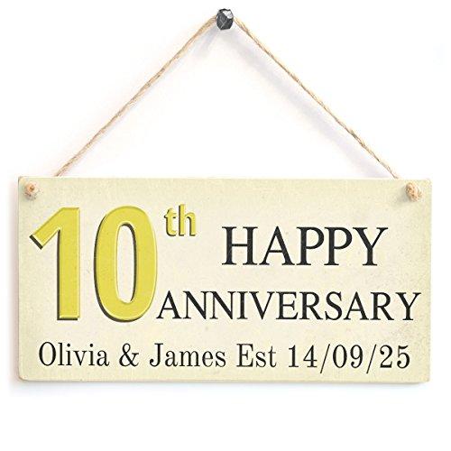 Happy Anniversary–personalizzato decimo anniversario di matrimonio in legno Sign Gift