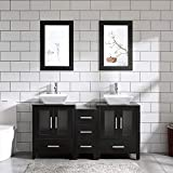 60' Bathroom Vanity Cabinet Double Top Sink Combo Black MDF Wood w/Mirror Faucet and Drain