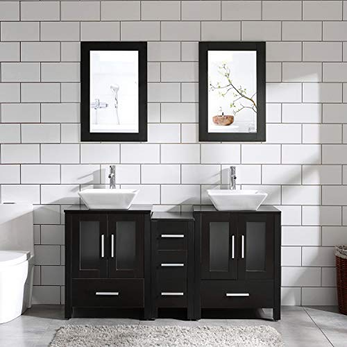 "60"" Bathroom Vanity Cabinet Double Top Sink Combo Black MDF Wood w/Mirror Faucet and Drain"