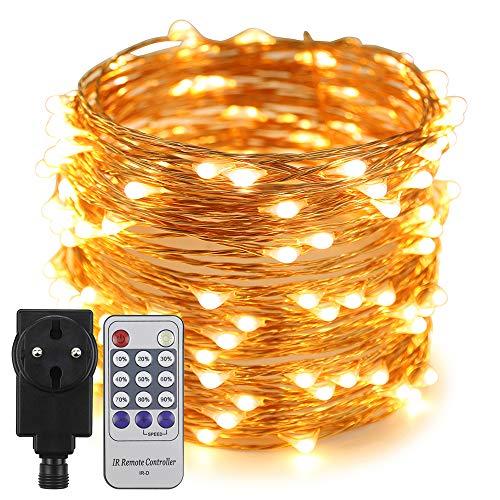 Erchen Strom-betrieben LED Lichterkette, 66 FT 200 LED 20M Stecker dimmbare Kupfer Draht Lichterketten mit 4.5V DC Adapter Fernbedienung für Innen Außen Weihnachten Party (warmweiß)