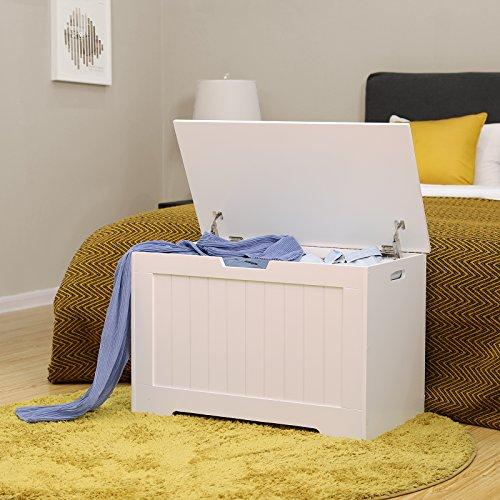 VASAGLE Spielzeugkiste Truhe Bank Stauraum Sitztruhe Sitzbank Aufbewahrungstruhe mit großer Kapazität weiß , Holz, 76 x 48 x 40 cm (B x H x T) LHS11WT - 5