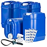 Emergency Water Storage 5 Gallon Water Tank - 20 Gallons (4 Tanks) - 5 Gallons Each w/Lids + Spigot & Water Treatment - Food Grade, Portable, Stackable, Easy Fill - Survival Supply Water Container