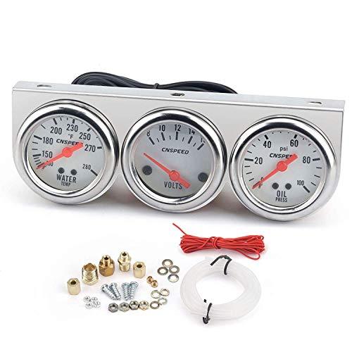 JKCKHA Universal de los 52MM Triple Medidor de voltios del contador del agua de temperatura Indicador de prensa de aceite Indicador de presión Medidor mecánico auto for el coche del carro del barco ta
