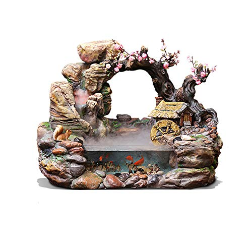 CKR Fuente En Cascada, Fuente De Agua De Interior, Fuente Decorativa, Pequeña Rocalla Escritorio, Ambientalmente Amigable De Resina + Vidrio Templado, 50X32x38cm