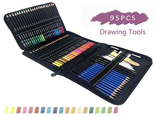 72 Buntstiften und 12 Skizzieren Bleistifte,11 Zeichnen Zubehör Set mit Reißverschlussetui-deal für Ausmalbilder Erwachsene, Mandala, Malbuch, Schreibgeräte und Schule