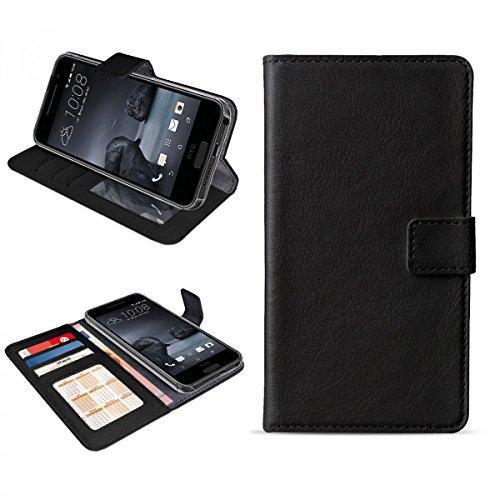 eFabrik Cover für HTC One A9 Hülle Handy Zubehör mit Aufsteller Innenfächer, Farbe:Schwarz