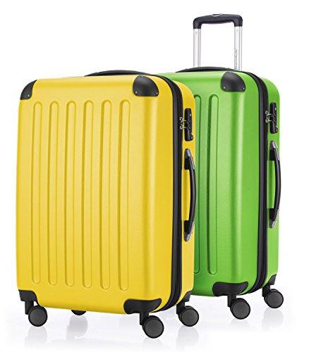 HAUPTSTADTKOFFER - Spree - 2er Koffer-Set Hartschale Matt, TSA, 65 cm mit Volumenerweiterung, Gelb-Apfelgrün