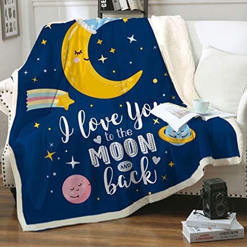 Moon Kids Sherpa Fleece Throw Blanket, Cute Cartoon Celestial Stars Plush Throw Blanket Super Soft...