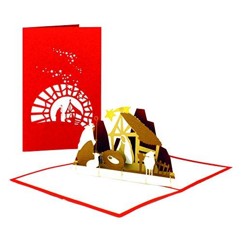 """Weihnachtskarte """"Krippe mit Stern"""" - 3D Pop Up Karte mit Weihnachtskrippe – handgefertigte Papierkunst"""