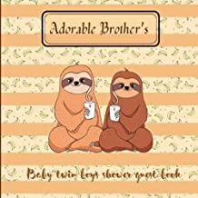 Adorable Brother's Baby Twin Boys: Baby shower guest book - Advice for Parents 100 Guest pages/ Gift Log 10 pages/ Keepsak...
