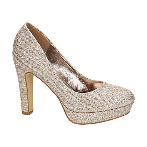 Klassische Damen Glitzer Pumps Stilettos High Heels Plateau Abend Schuhe Bequem 315 (40, Gold)