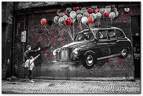Leinwand Bedrucken 50x70cm Kein Rahmen Drucken Sie Moderne abstrakte Klassische Street Art Graffiti Mann und kleines Mädchen mit Luftballons Autos Bilder rahmenloses Poster Wandbild