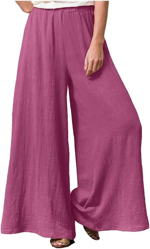 Lghxlxry Women's Casual Flowy Palazzo Arlington Mall Elastic L Max 48% OFF Waist Wide Pants