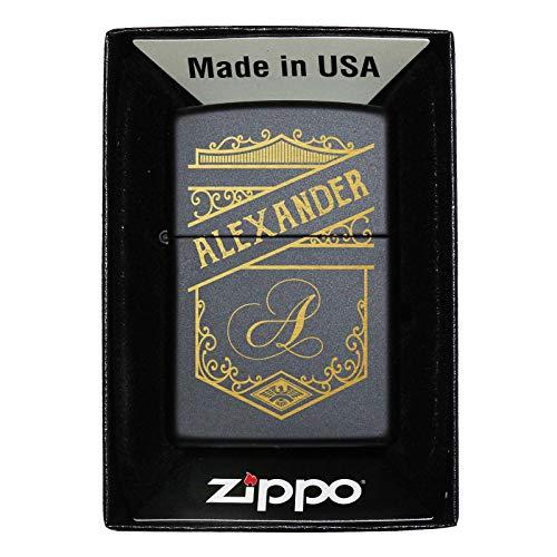 Pixelstudio Zippo aansteker zwart met gravure naam initialen wensgravure cadeau mannen vrouwen persoonlijk retro ornament wapen Zippo mit Geschenkbox, Benzin & Feuersteinen
